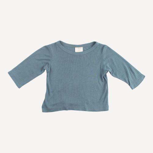 long sleeve boxy tee | modal rib | blue mirage