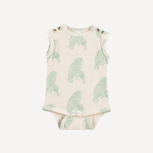 button tank bodysuit | organic cotton terry | green parrot