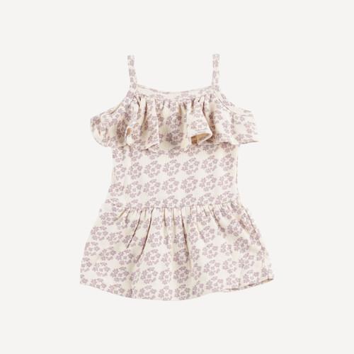 spagetti ruffle dress | organic cotton terry | daffodil