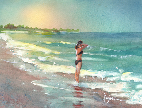 "Lone woman preparing for a morning swim.  8"" x 11"" original watercolor painting"