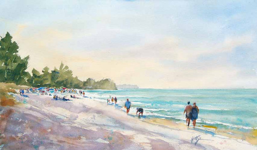 Busy Beach Day Original Watercolor