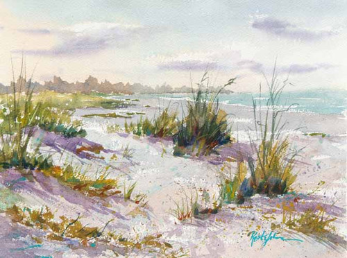 Edge of the Beach original watercolor painting