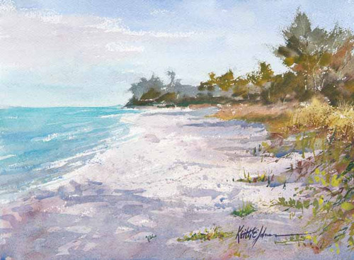 Before the Beachgoers original watercolor