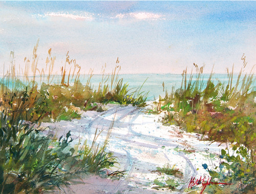 Path to the Beach original watercolor painting SOLD