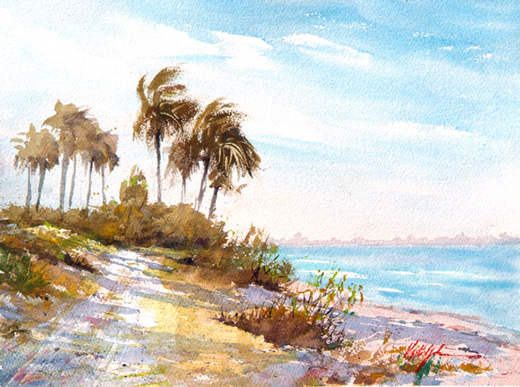 An original plein air watercolor painting of palm trees in the breeze along the Sanibel causeway.