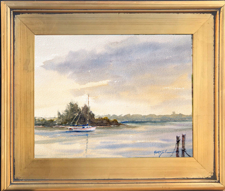 Framed painting of sailboat