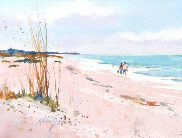 Beach Strolling (wood panel)