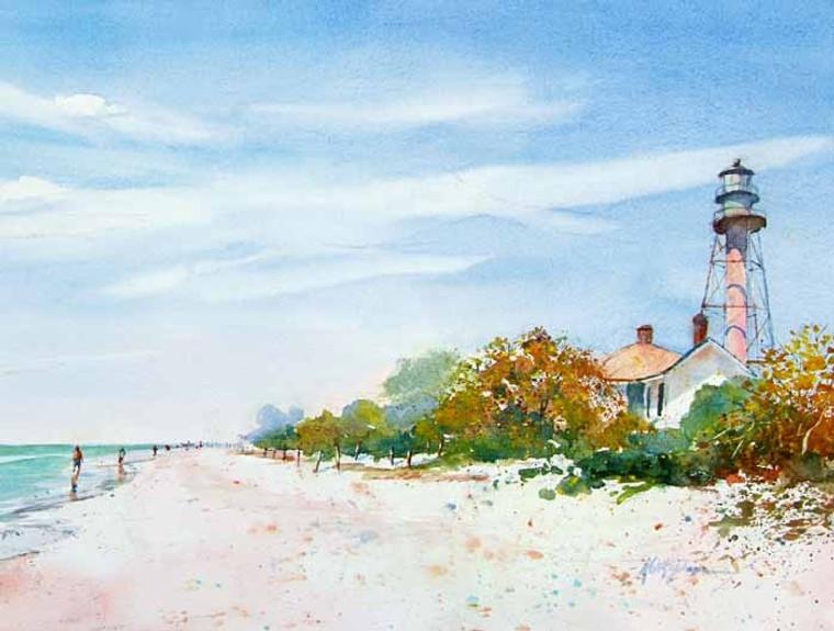 Sanibel Lighthouse Beach (wood panel)