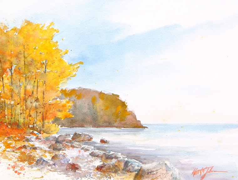 Lake Superior Autumn on a wood panel
