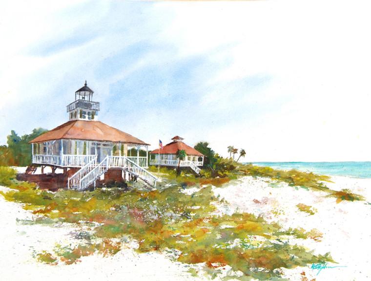 Boca Grande Lighthouse III on wood