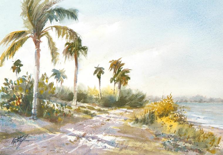 Palm Shadows original watercolor painting