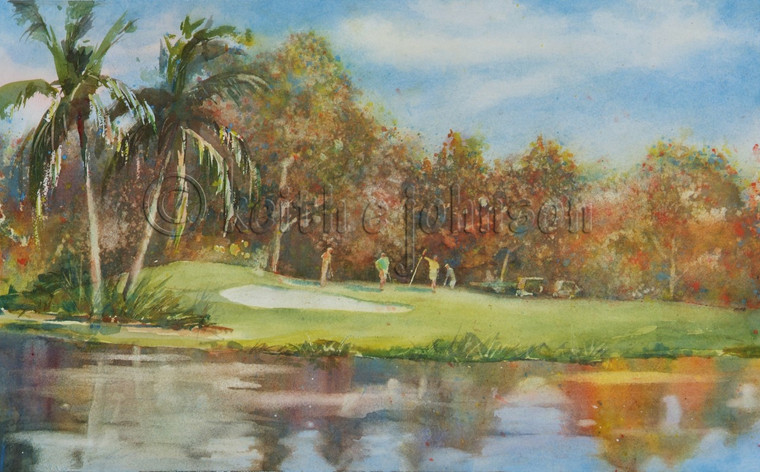 The original watercolor painting of the 18th Green at Sanibel Island Golf Clubl, FL unframed.
