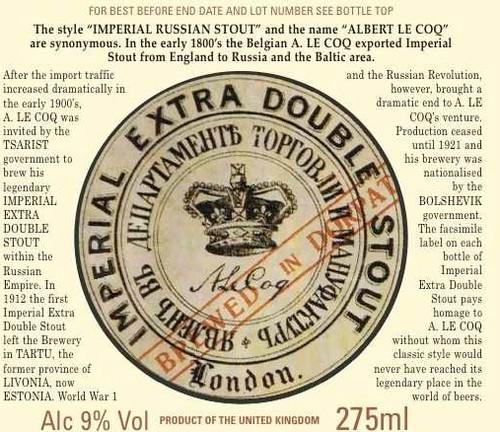 Le Coq Imp Extra Double Stout, 11.2oz bottle