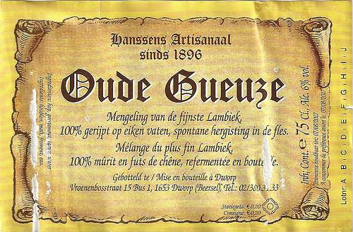 Hanssens Oude Gueuze 375ml, 375ml bottle