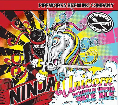 Pipeworks Ninja vs Unicorn, 4 pack 16oz cans