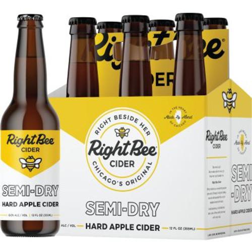 Right Bee Cider Dry, 6 pack 12oz bottles