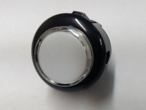 Sanwa Denshi OBSC-24 Translucent Clear 24mm Snap-in Push Button - Black Rim with Colourless Plunger