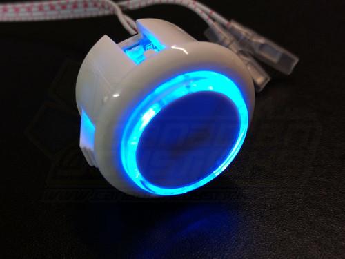 Qanba 30mm LED Buttons - White Body Blue LED