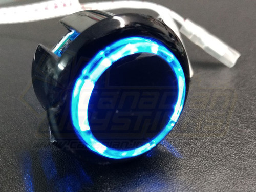 Qanba 30mm LED Buttons - Black Body Blue LED
