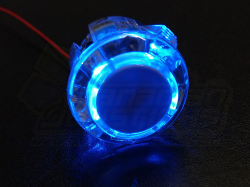 Qanba 24mm LED Button - Clear Body Blue LED
