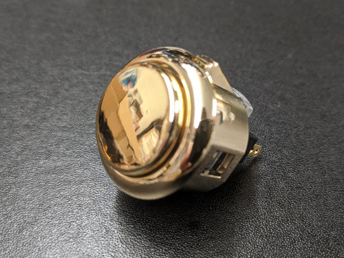Sanwa Denshi OBSJ-24 Metallic Finish Snap-In 24mm Pushbutton - Gold