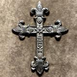 Rustic Fleur Cast Iron Wall Cross
