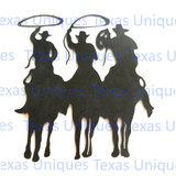 Metal Cut Out Of Roping Cowboy