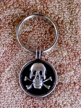 Biker Skull And Crossbones Key Fob