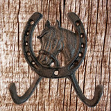 Western Horse Coat Hooks - Front View