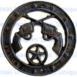Cast Iron Plaque Of Pistols & Star