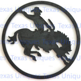 Metal Cut Out Of Saddle Bronc