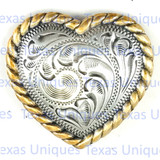 Western Floral Rope Edge Heart Concho
