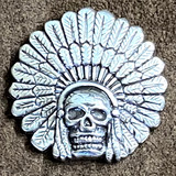 INDIAN CHIEF HEAD  DRESS  SKULL MOTORCYCLE CONCHOS
