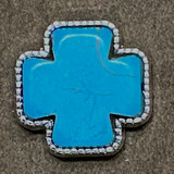 Stone Cross Turquoise Bling Concho