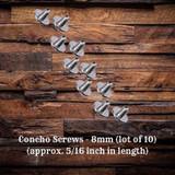 Concho Screws 8mm (lot of 10) (CON00898-H-TH199998-8mm-10)
