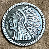 INDIAN CHIEF PROFILE LEFT MOTORCYCLE CONCHO