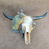 Texas Armadillo And Longhorn Skull Resin Statue