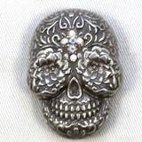Motorcycle Conchos Sugar Skull Clear Crystal Cross