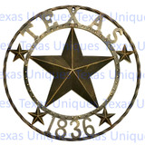 Texas Metal Star 1836 Wall Art 24 Inch