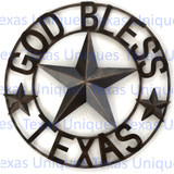 GOD BLESS TEXAS STAR METAL ART 18 Inch