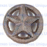 Rustic Brown Cast Iron Texas 3-D Star on Circle