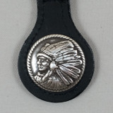 Motorcycle Key Fob Indian Chief Profile Left Black Leather