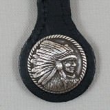 Motorcycle Key Fob Indian Chief Profile Right Black Leather