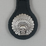 Motorcycle Biker Key Fob Indian Chief Headdress & Skull Black Leather