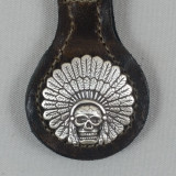 Motorcycle Biker Key Fob Indian Chief Headdress & Skull Brown Leather
