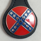 Confederate Round Rebel Key Fob Black Leather