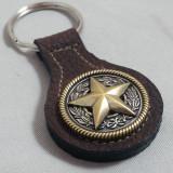 Texas Star Key Fob Brown Leather