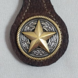Texas Star Key Fob Brown Leather
