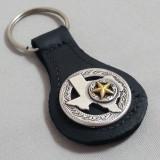 Texas Key Fob Black Leather