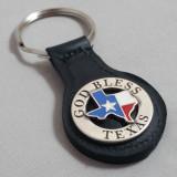 GOD BLESS TEXAS Key Fob Black Leather